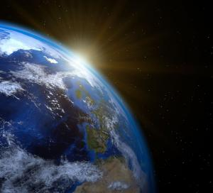 View of earth horizon from space