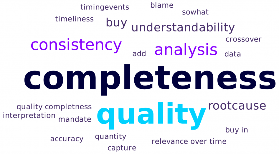 North American Insurance Forum 2019 word cloud: Challenges implementing a loss data process