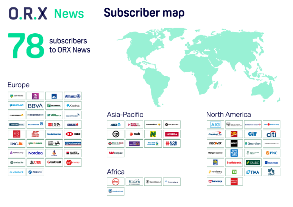 Map showing logos of ORX News subscribers