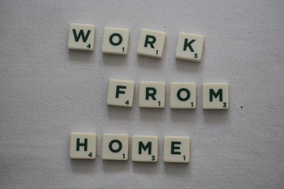 Scrabble letters spelling out working from home