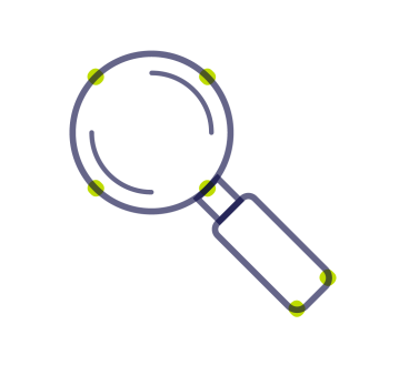 Research magnifying glass icon
